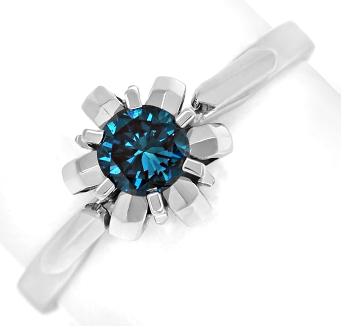 Foto 2, Diamantring mit 0,32ct Fancy Intense Vivid Blue Solitär, Q0530