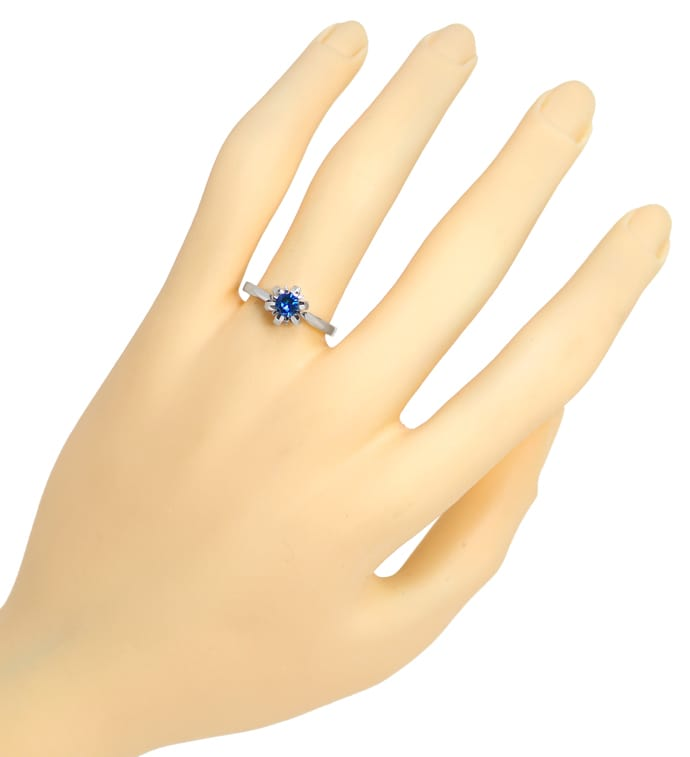Foto 4, Diamantring mit 0,32ct Fancy Intense Vivid Blue Solitär, Q0530
