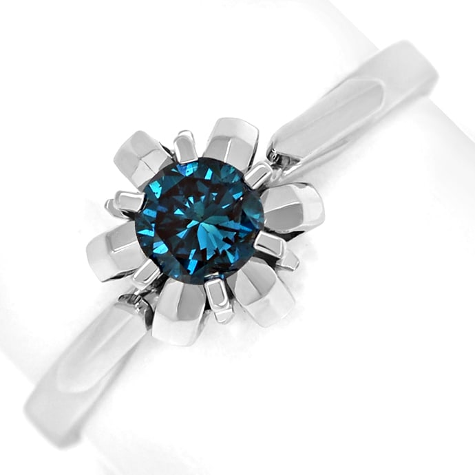 Diamantring mit 0,32ct Fancy Intense Vivid Blue Solitär, Designer Ring