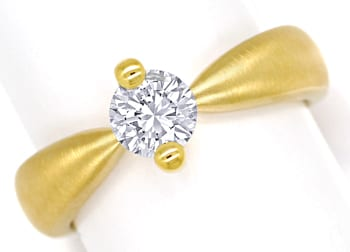 Foto 1, Diamantring mit 0,66ct Brillant Solitär massiv Gelbgold, Q0531