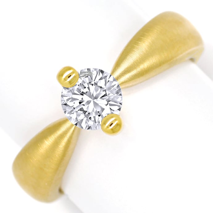Diamantring mit 0,66ct Brillant Solitär massiv Gelbgold, Designer Ring