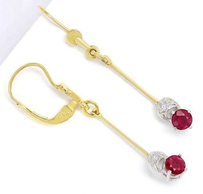 Foto 1, Ohrhänger mit Spitzen Rubinen und Diamanten in 14K Gold, Q0540