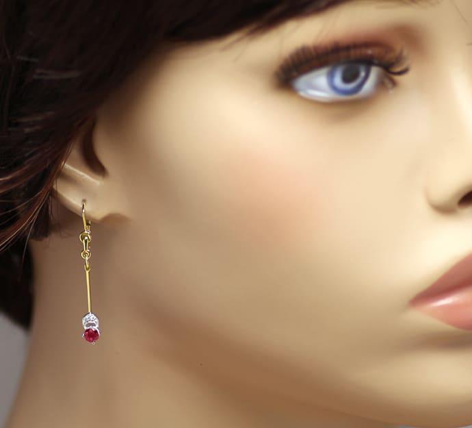 Foto 2, Ohrhänger mit Spitzen Rubinen und Diamanten in 14K Gold, Q0540