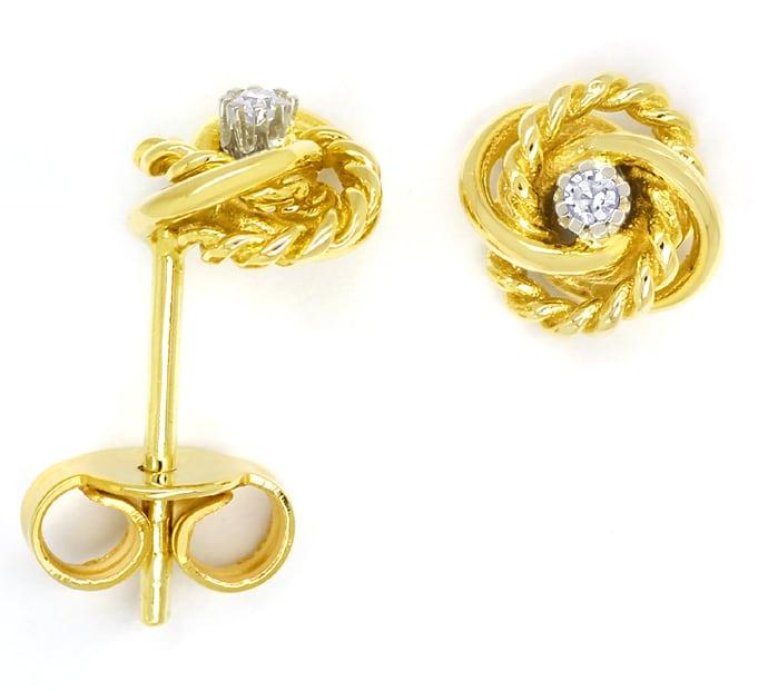 Foto 1, Ohrstecker attraktive Knoten mit Diamanten 14K Gelbgold, Q0541