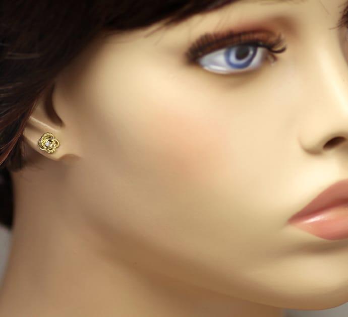 Foto 2, Ohrstecker attraktive Knoten mit Diamanten 14K Gelbgold, Q0541