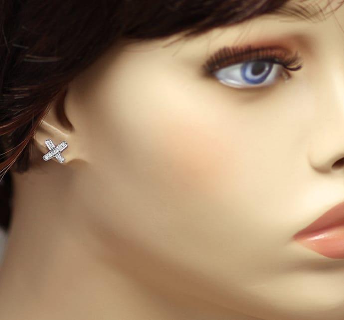 Foto 2, Diamantohrstecker Kreuz 18 Diamanten in 750er Weissgold, Q0542
