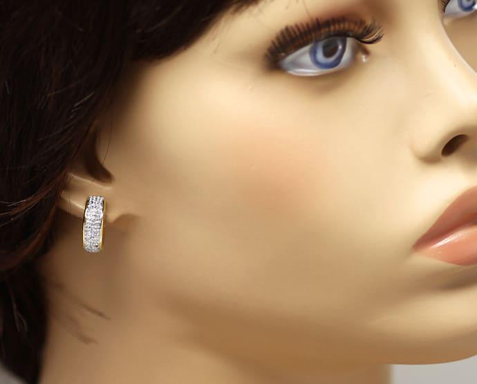 Foto 2, Diamantohrringe Kreolen vorne mit 30 Diamanten 14K Gold, Q0544