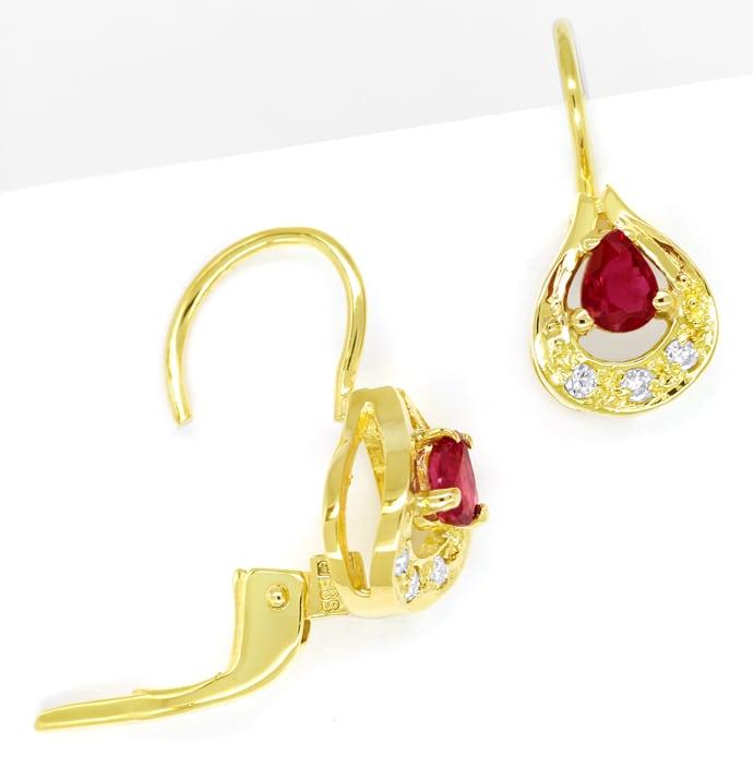 Foto 1, Tropfen Ohrringe mit Spitzen Rubinen und Diamanten Gold, Q0547