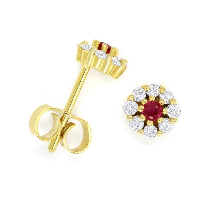 Foto 1, Diamantohrstecker Spitzen Rubine und Brillanten in Gold, Q0548
