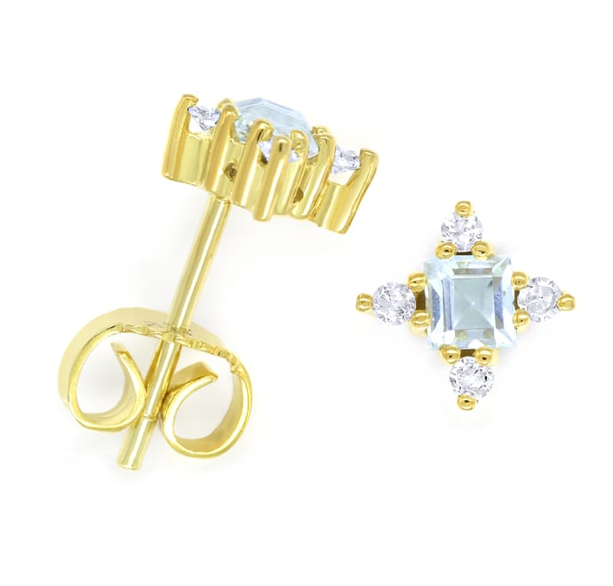 Foto 1, Ohrstecker 0,30ct Aquamarine und Diamanten 14K Gelbgold, Q0550