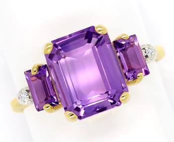 Foto 1, Damenring mit 3 rechteckigen Amethysten und 2 Diamanten, Q0620