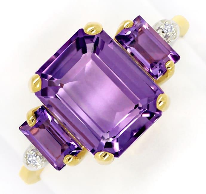 Foto 2, Damenring mit 3 rechteckigen Amethysten und 2 Diamanten, Q0620