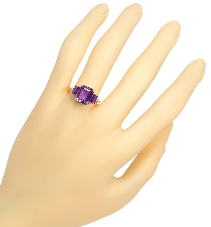 Foto 4, Damenring mit 3 rechteckigen Amethysten und 2 Diamanten, Q0620