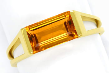 Foto 1, Damenring mit Madeira Citrin Baguette in 585er Gelbgold, Q0621