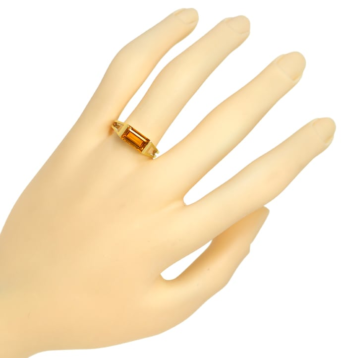 Foto 4, Damenring mit Madeira Citrin Baguette in 585er Gelbgold, Q0621