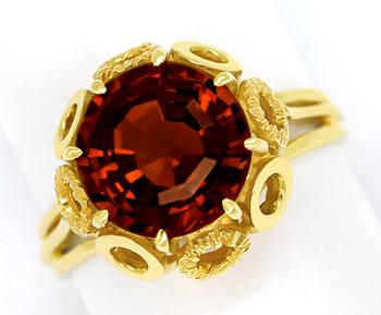 Foto 1, Madeira Citrin 5,1ct ausgefallener Krappenring 14K Gold, Q0625