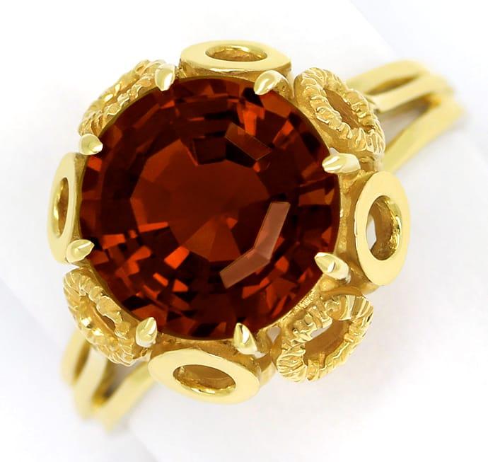 Foto 2, Madeira Citrin 5,1ct ausgefallener Krappenring 14K Gold, Q0625
