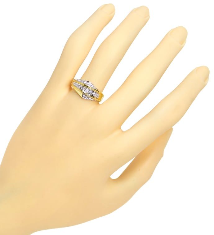 Foto 4, Diamantring 0,24ct Brillanten in drei Reihen 585er Gold, Q0626