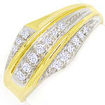Diamantring 0,24ct Brillanten in drei Reihen 585er Gold