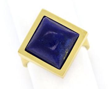 Foto 1, Edelsteinring mit Spitzen Lapislazuli in 585er Gelbgold, Q0628