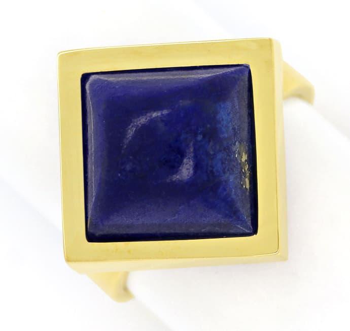 Foto 2, Edelsteinring mit Spitzen Lapislazuli in 585er Gelbgold, Q0628