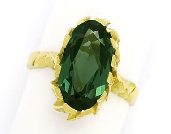 Foto 1, Grüner Spinell 6ct in tollem Damenring aus 14K Gelbgold, Q0630