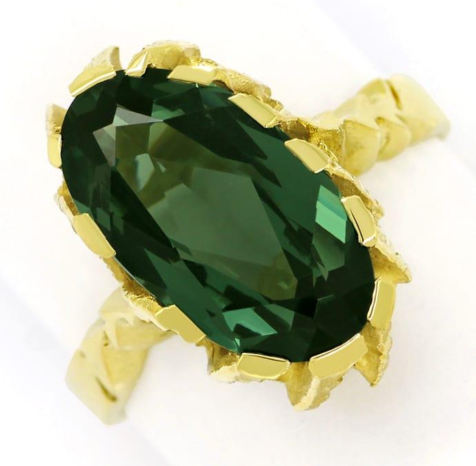 Foto 2, Grüner Spinell 6ct in tollem Damenring aus 14K Gelbgold, Q0630
