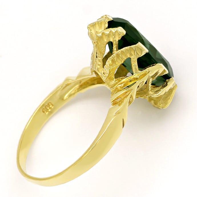 Foto 3, Grüner Spinell 6ct in tollem Damenring aus 14K Gelbgold, Q0630