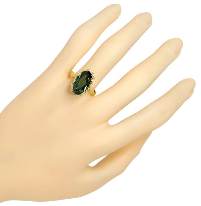 Foto 4, Grüner Spinell 6ct in tollem Damenring aus 14K Gelbgold, Q0630