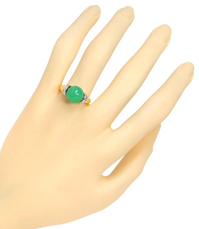 Foto 4, Diamantring mit Chrysopras Kugel und Diamanten 14K Gold, Q0636