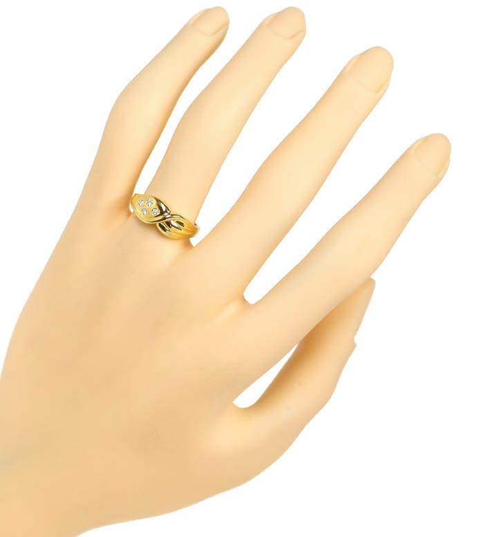 Foto 4, Diamantenbandring geschweift mit 4 Brillianten Gelbgold, Q0638