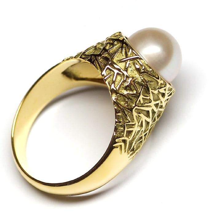 Foto 3, Designer Ring mit 9mm Akoyazuchtperle in 585er Gelbgold, Q0643
