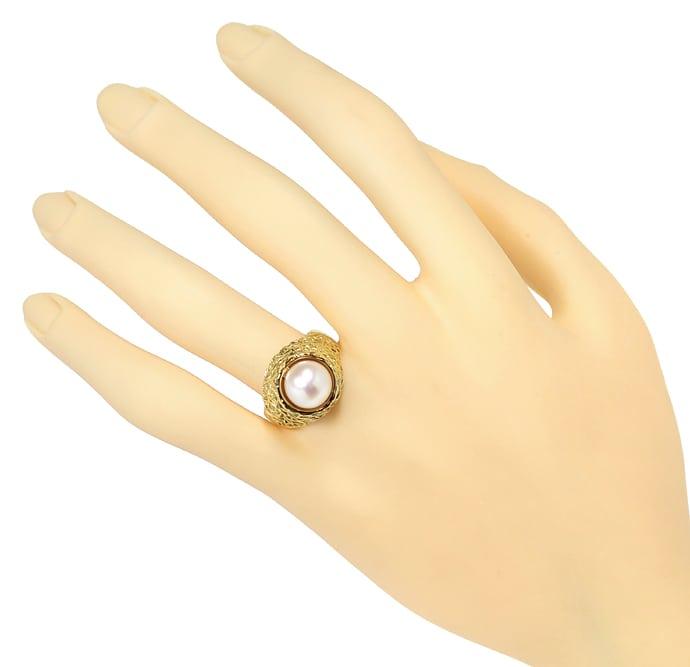 Foto 4, Designer Ring mit 9mm Akoyazuchtperle in 585er Gelbgold, Q0643