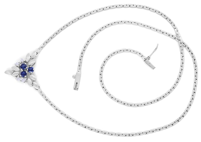 Foto 1, Weissgoldkollier 3 blaue Spitzen Safire und 4 Diamanten, Q0644