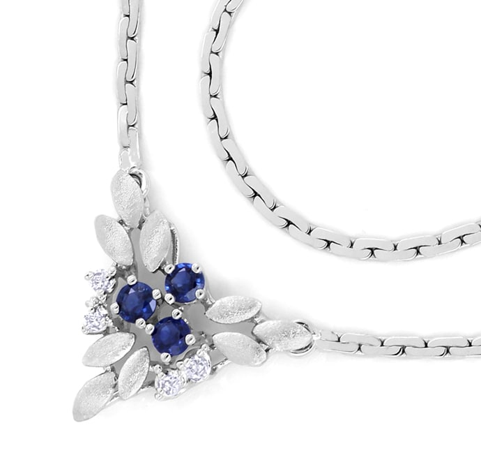 Foto 2, Weissgoldkollier 3 blaue Spitzen Safire und 4 Diamanten, Q0644