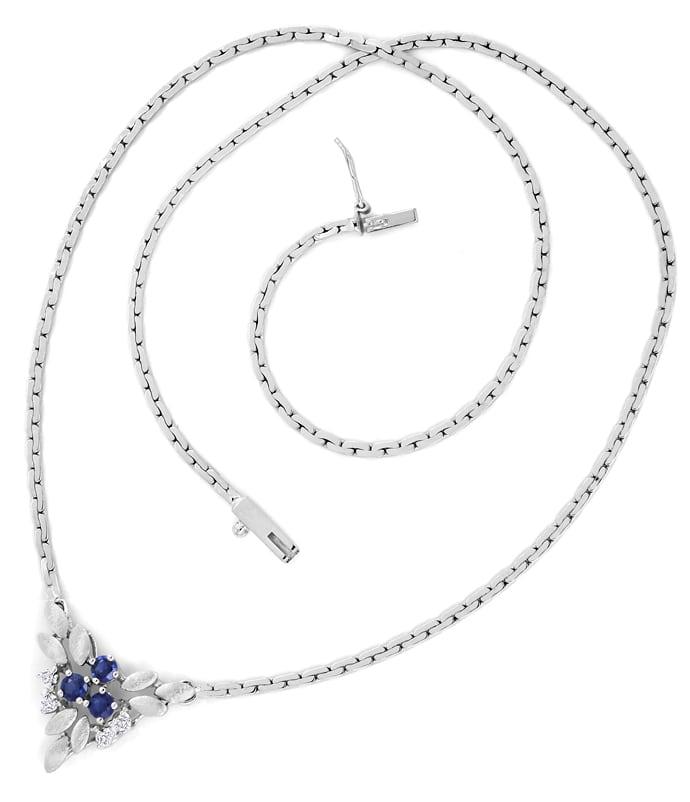 Foto 3, Weissgoldkollier 3 blaue Spitzen Safire und 4 Diamanten, Q0644