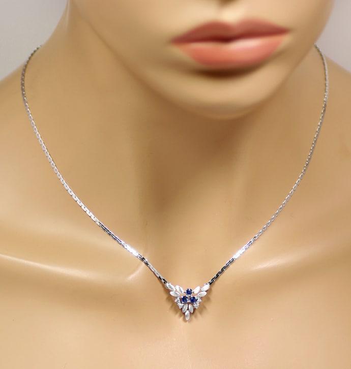 Foto 4, Weissgoldkollier 3 blaue Spitzen Safire und 4 Diamanten, Q0644