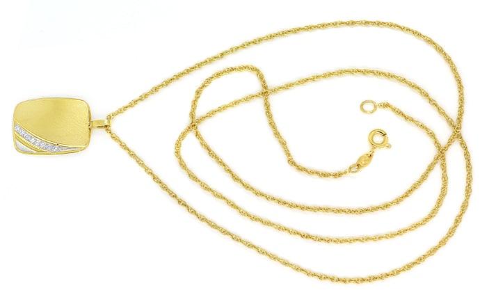 Foto 1, Goldplatte mit Diamanten an Doppelankerkette massiv 14K, Q0645