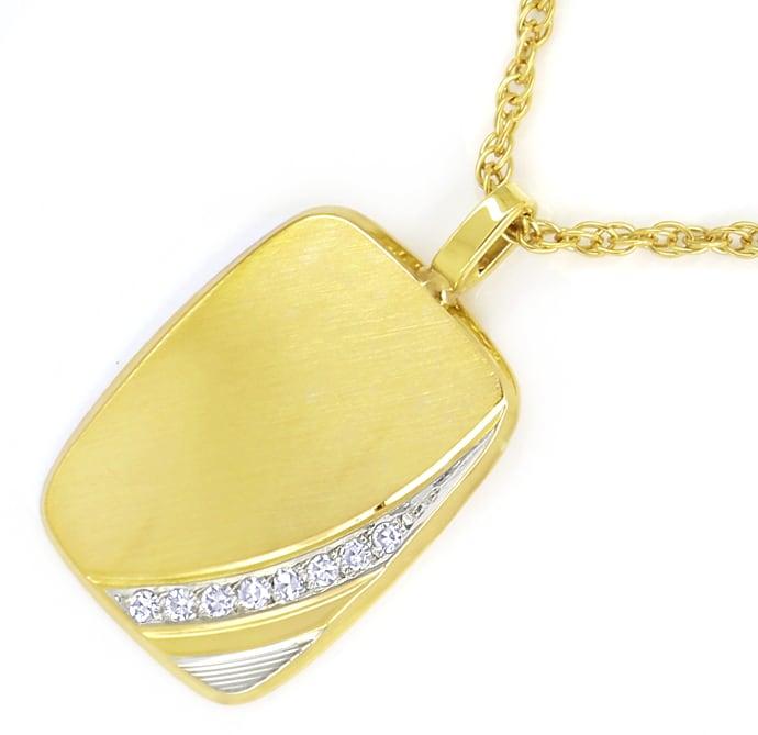 Foto 2, Goldplatte mit Diamanten an Doppelankerkette massiv 14K, Q0645