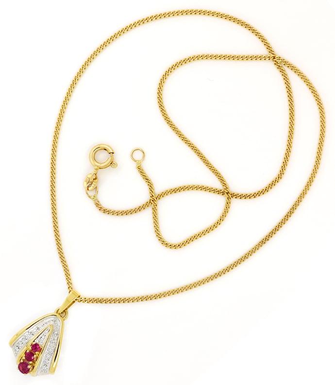 Foto 3, Diamantkollier mit 0,20ct Spitzen Rubinen und Diamanten, Q0646