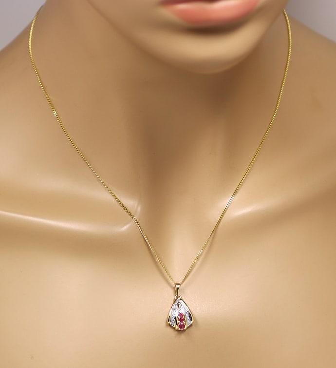 Foto 4, Diamantkollier mit 0,20ct Spitzen Rubinen und Diamanten, Q0646