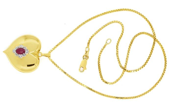Foto 1, Herzanhänger Rubin und Diamanten an Venezianergoldkette, Q0647