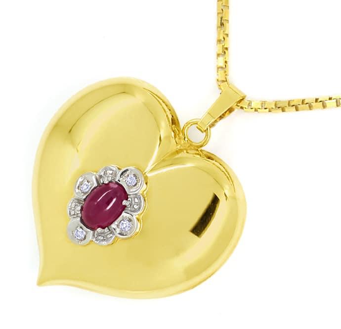 Foto 2, Herzanhänger Rubin und Diamanten an Venezianergoldkette, Q0647