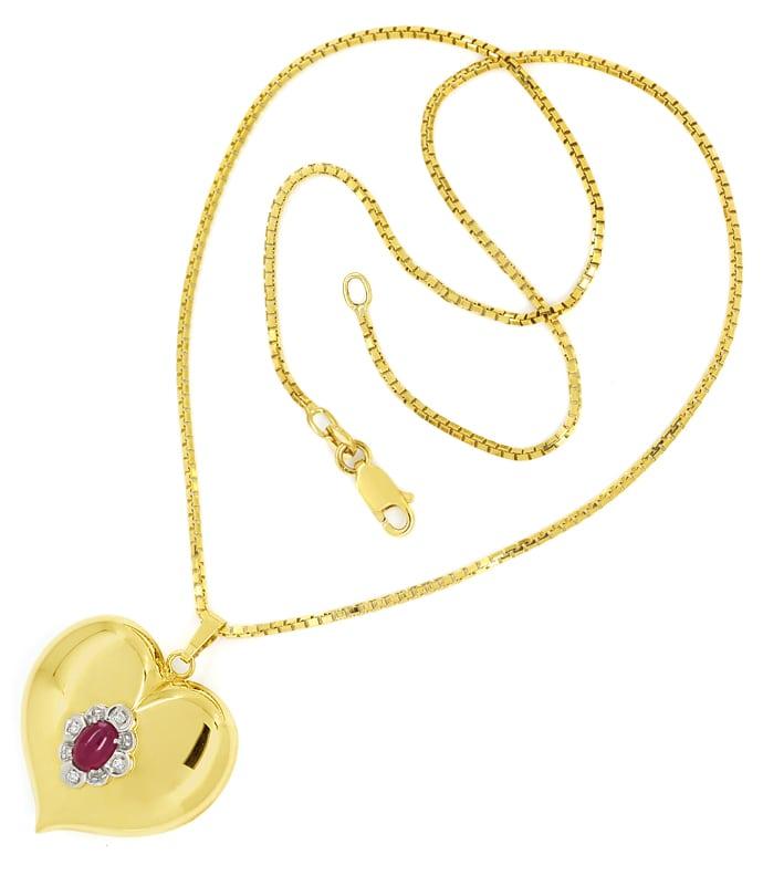 Foto 3, Herzanhänger Rubin und Diamanten an Venezianergoldkette, Q0647