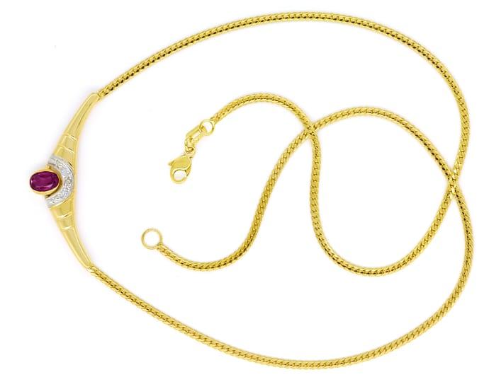 Foto 1, Modernes Gold Kollier mit rotem Edelstein und Diamanten, Q0649