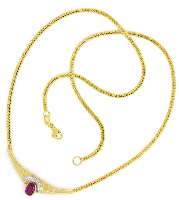 Foto 3, Modernes Gold Kollier mit rotem Edelstein und Diamanten, Q0649