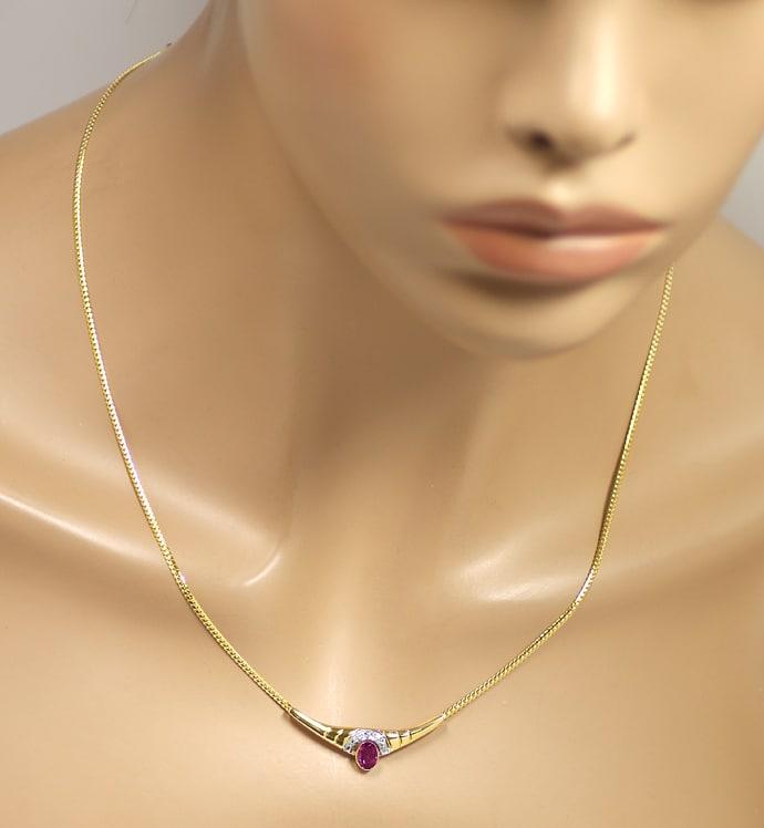 Foto 4, Modernes Gold Kollier mit rotem Edelstein und Diamanten, Q0649
