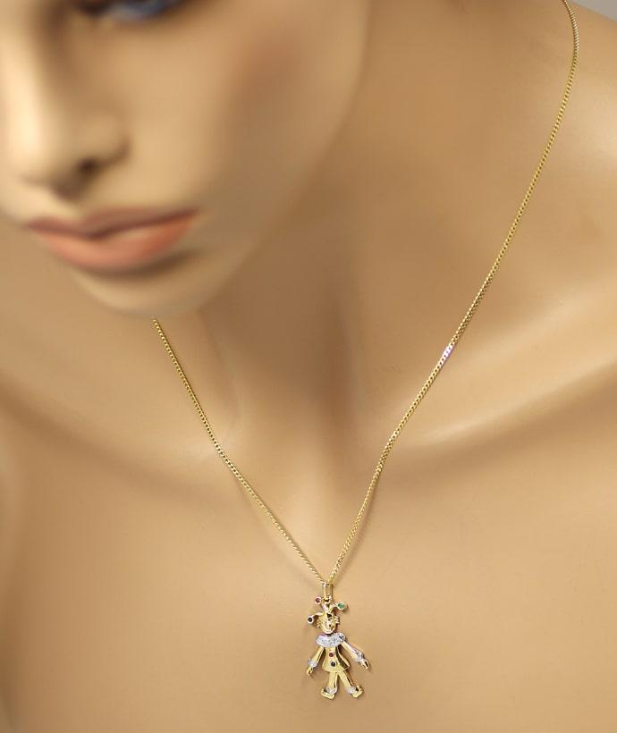 Foto 4, Harlekin Edelsteine und Diamant an Panzerkette Gelbgold, Q0650