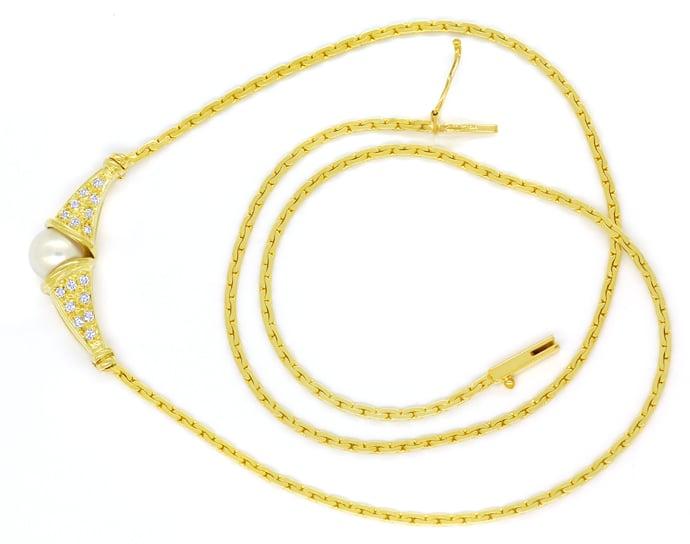 Foto 1, Gelbgoldkollier Akoyaperle 0,20ct lupenreine Brillanten, Q0651