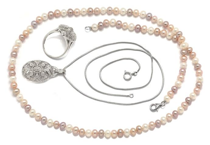 Foto 1, Schmuckset Ring und Kollier 140 Diamanten Perlen Silber, Q0710
